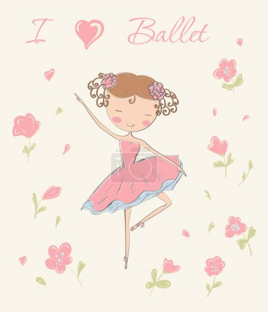 Hand drawn ballerina dancing with flowers.