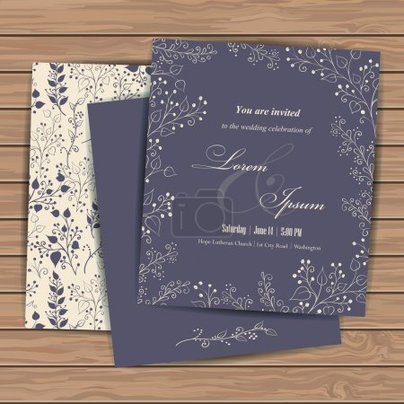 Illustration for Wedding invitation cards with floral elements  on wood plank background. Place for your text. Use for invitations, announcement cards.. Vector illustration. - Royalty Free Image