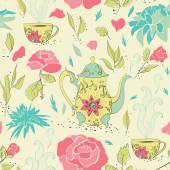Tea party seamless pattern
