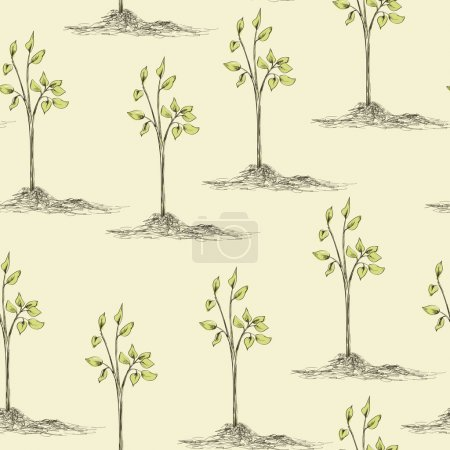 tree planting seamless pattern