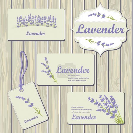 Illustration for Lavender cards and labels on wood plank background. Template for design textile, greeting cards, wrapping paper, packages, backgrounds. Vintage vector illustration. - Royalty Free Image