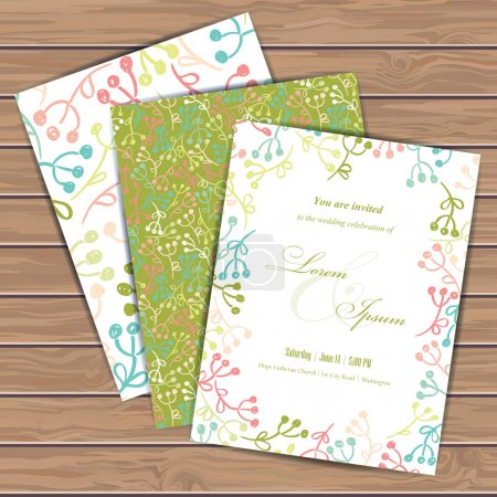 Illustration for Greeting cards with floral elements on wood plank background. Place for your text. Use for invitations, announcement cards. Seamless pattern masked. Vector illustration. - Royalty Free Image