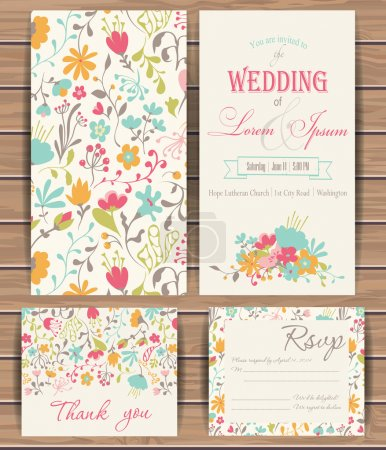 Illustration for Floral vector card templates. Hand drawn design for Save The Date, Greeting card, birthday cards, invitations. Seamless pattern is masked.  Wood plank vector background is in the separate layer - Royalty Free Image