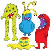 Set of Cute cartoon Monsters Halloween design Vector illustration