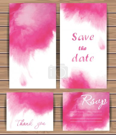 Illustration for Wedding vector card templates with watercolor splash. Hand drawn design for Save The Date, Thank you card, Greeting card, birthday cards, invitations. Wood plank vector background is in the separate layer.  Vector illustration. - Royalty Free Image