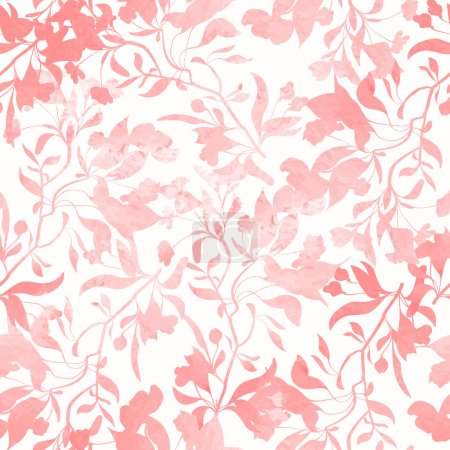 Illustration for Seamless pattern with watercolor flowers. Hand drawn design for fabric, wrapping paper, greeting cards or invitation. Vector illustration. - Royalty Free Image