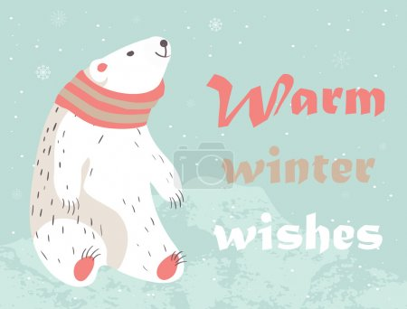 Christmas card with polar bear