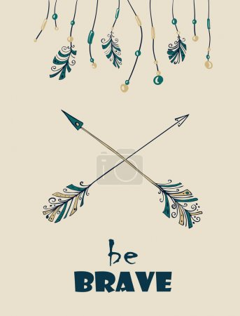 Illustration for Card with hand drawn Indian-American arrows and dream catchers. Vector illustration - Royalty Free Image