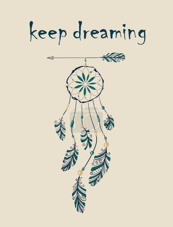 Illustration pour Carte avec attrape-rêves amérindien natif accroché à la flèche. Illustration vectorielle - image libre de droit