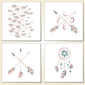 Cards with hand drawn Indian-American arrows and dreamcatcher