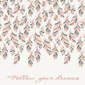 Greeting card with hand drawn abstract feathers