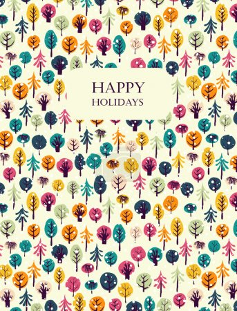 Illustration for Happy holidays greeting card. Colorful trees and snowflakes background. Seamless patterns are masked. Winter holiday design. Vector illustration - Royalty Free Image