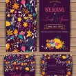 Floral vector card templates. Hand drawn design fo...