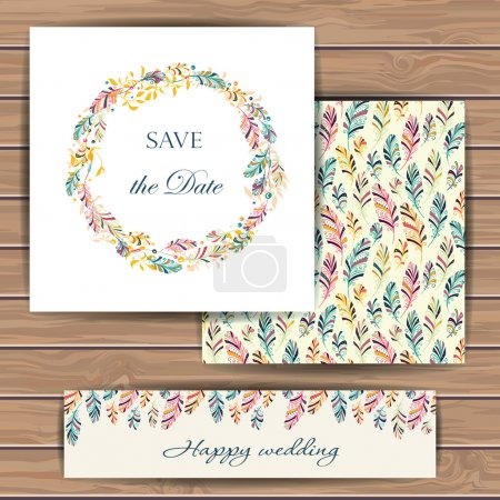 Save the date card with feather.