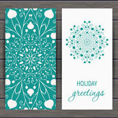 Christmas and New Years greeting card with floral snowflake Hand drawn design for greeting cards fabric wrapping paper invitation stationery Wood plank vector background is in the separate