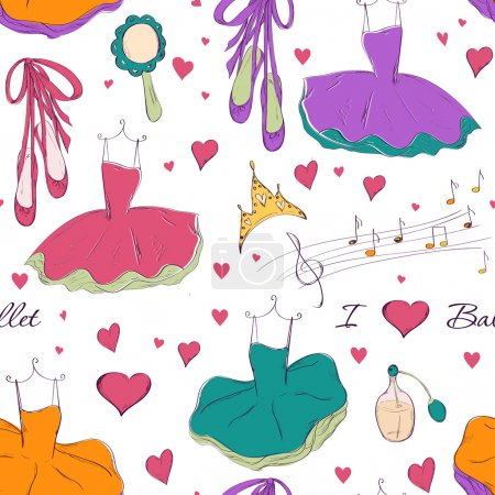 Illustration for Seamless pattern with tutu dress and accessories. Hand drawn design for Birthday and Baby Shower greeting cards, fabric, wrapping paper, invitation, stationery. Vector illustration. - Royalty Free Image