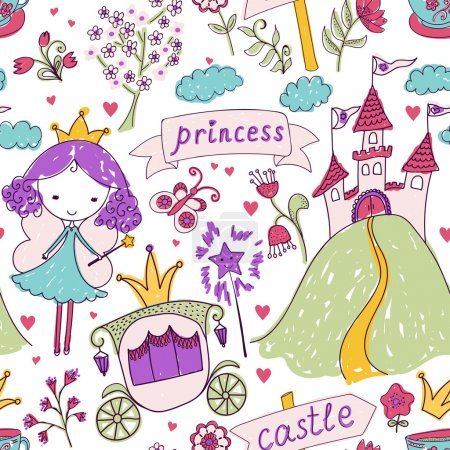 Fairy Tale Princess seamless pattern