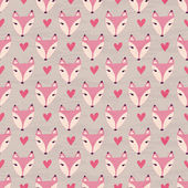 Fox with heart seamless pattern