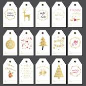 Christmas gift tags stickers and labels Hand drawn design for winter holidays