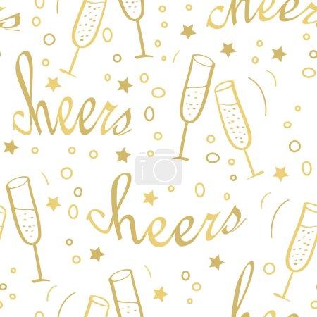 Illustration pour Fond sans couture de Noël avec lettrage Cheers doré et verres avec champagne. Conception dessinée à la main pour les vacances d'hiver . - image libre de droit