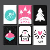 Christmas Greeting Card Collection Hand drawn design for winter holiday gift tags stickers and labels calendars posters prints invitations