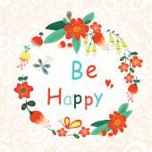 Essere felice floreale carta