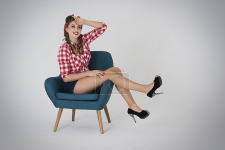 Tired pin up girl resting afterwards