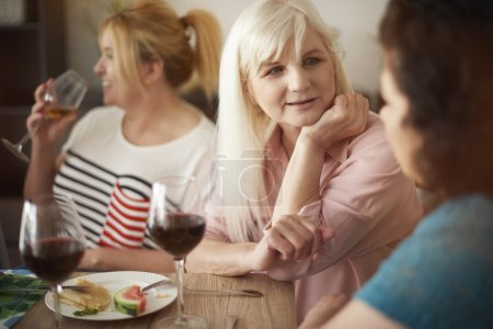 Female friends relaxing together on meeting