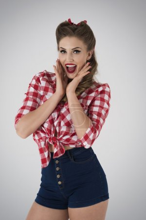 Pin up girl in checked shirt