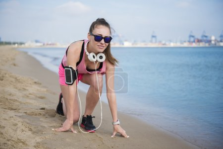Woman ready to start jogging