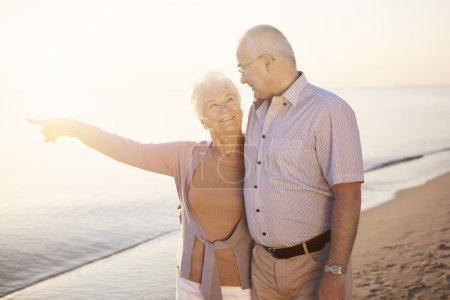 Photo for Senior woman with her husband pointing towards the sea - Royalty Free Image