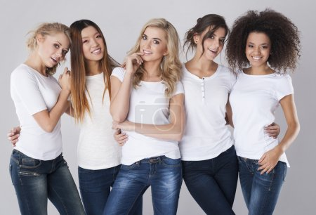 Photo for Beautiful young multi-ethnic women posing in the studio - Royalty Free Image