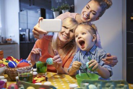 Family selfie with easter egg