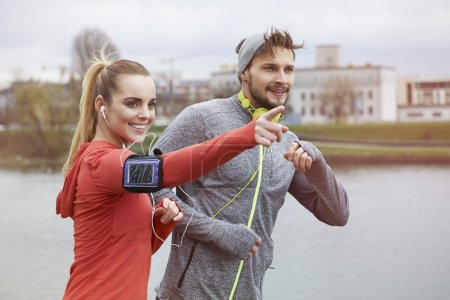 Fitness couple together outdoors