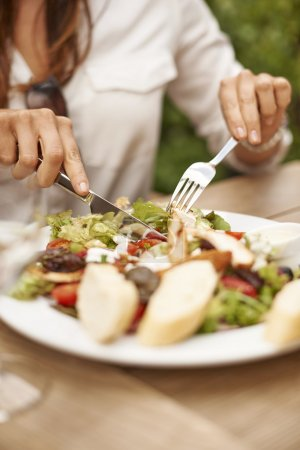 Photo for Female hands having Healthy lunch - Royalty Free Image