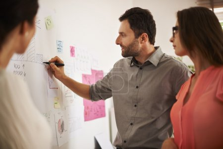 Photo for Business Team at work in office. Man executive writing down some data on the board - Royalty Free Image