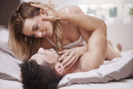 Intimate scene of couple in love
