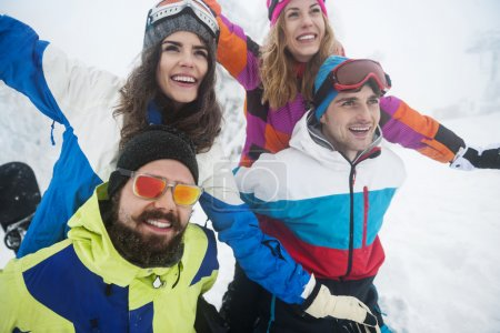 Group of best friends at the ski slope