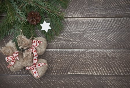 Christmas gifts on the rustic table