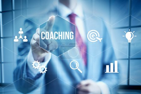 Photo for Business coaching concept, businessman selecting interface - Royalty Free Image
