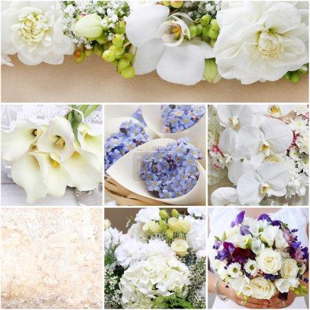 Collage with romantic wedding arrangements