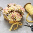 Florist at work: how to make box with flowers, ste...