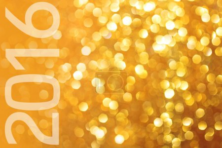 Photo for Happy New Year 2016. Gold glittering christmas lights. Blurred abstract background - Royalty Free Image