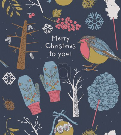 Christmas greeting card with birds and winter trees