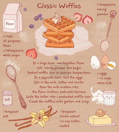 Illustration pour Gaufres belges. Carte de recette. Vecteur . - image libre de droit