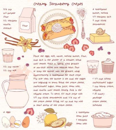 Recipe card. Creamy strawberry crepes.