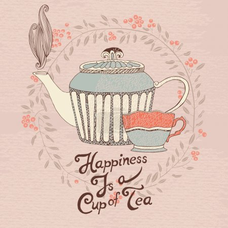 Invitation card with a tea cup and teapot. Vector.