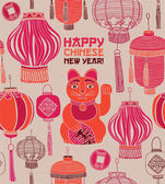Chinese new year card lanterns and lucky cat