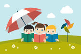 Little cute group of three children reading a books sitting on the grass under sun umbrella Holiday concept Flat vector