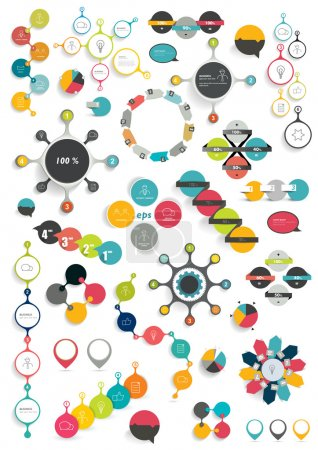 Set of modern flat circle, round info graphic schemes. Template for print or web page.
